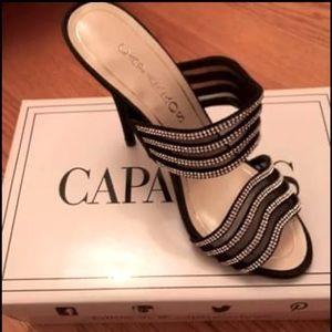 NEW Caparros heels, black w/rhinestones. Size 7.5